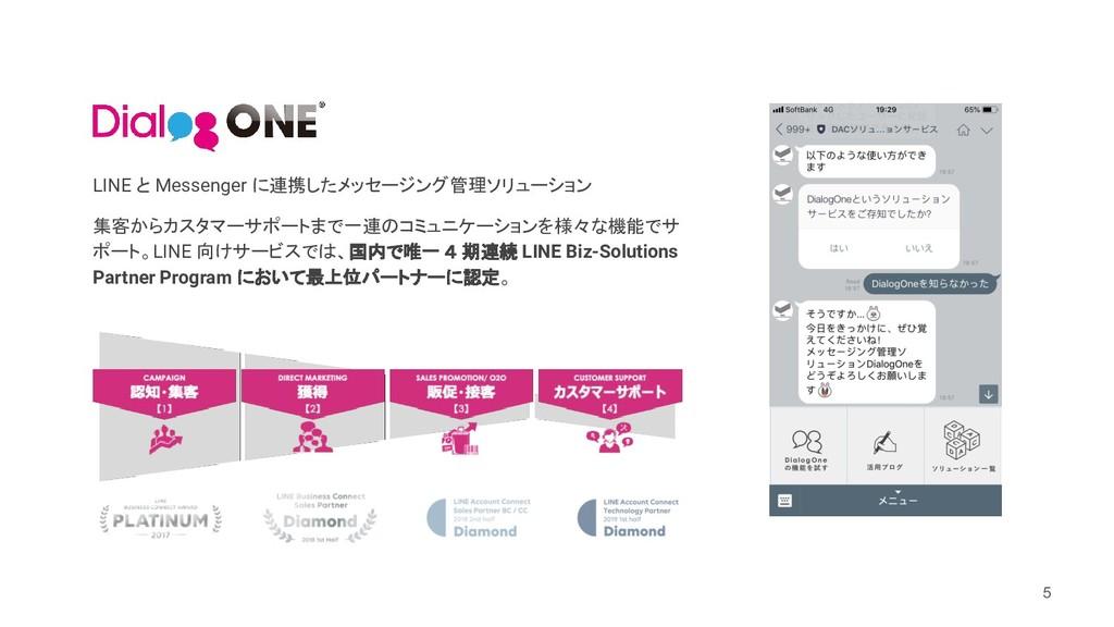 5 LINE と Messenger に連携したメッセージング管理ソリューション 集客からカス...