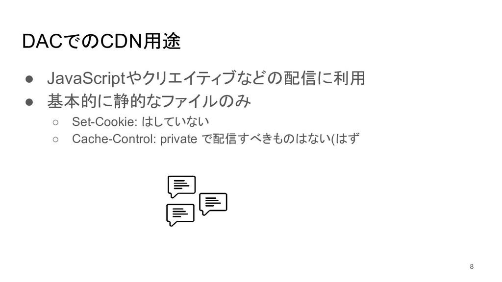 DACでのCDN用途 ● JavaScriptやクリエイティブなどの配信に利用 ● 基本的に静...