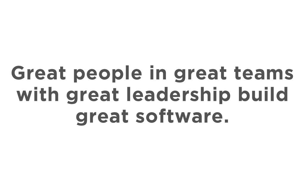 Great people in great teams with great leadersh...