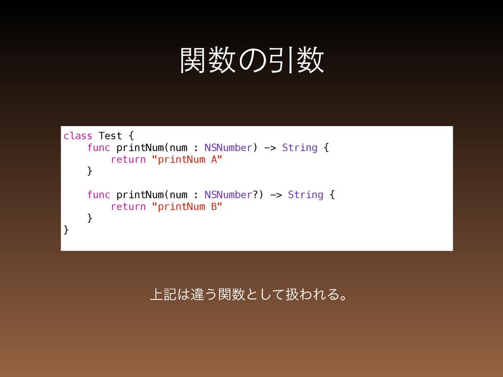 関数の引数 ্هҧ͏ؔͱͯ͠ѻΘΕΔɻ class Test { func printNu...