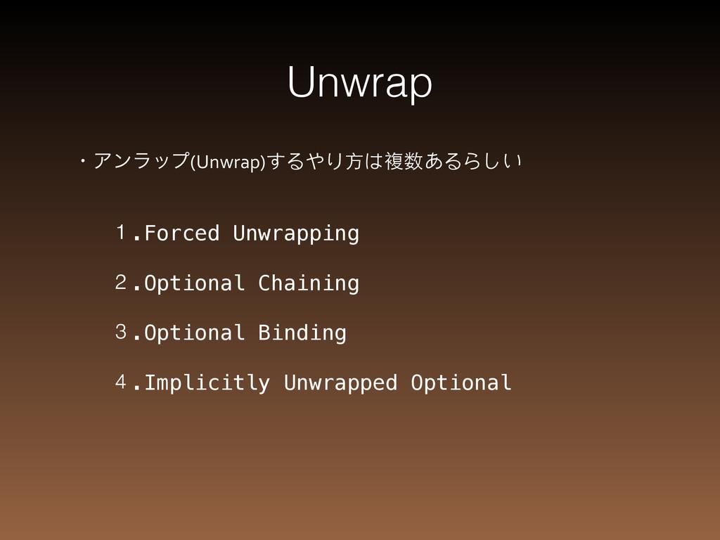 Unwrap ɾΞϯϥοϓ(Unwrap)するやり⽅方は複数あるらしい 1.Forced Un...