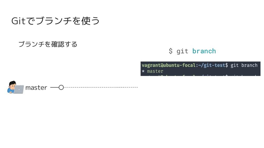 Gitでブランチを使う master ブランチを確認する $ git branch