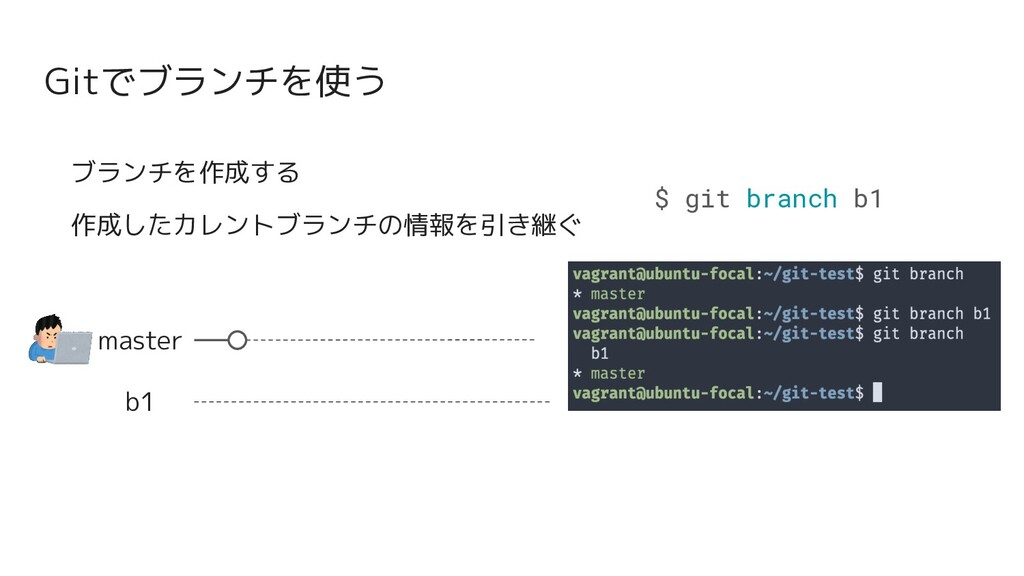 Gitでブランチを使う master b1 ブランチを作成する 作成したカレントブランチの情報...