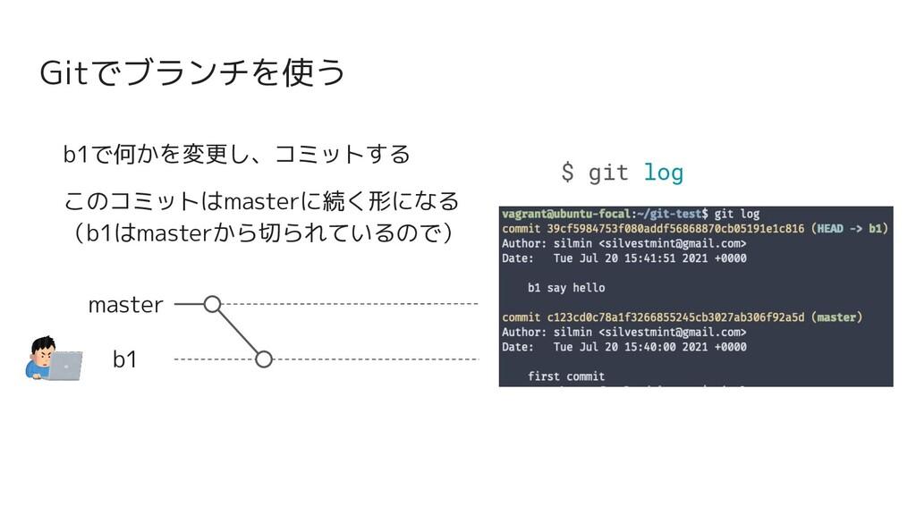 Gitでブランチを使う master b1 b1で何かを変更し、コミットする このコミットはm...