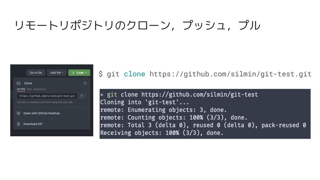 $ git clone https://github.com/silmin/git-test....