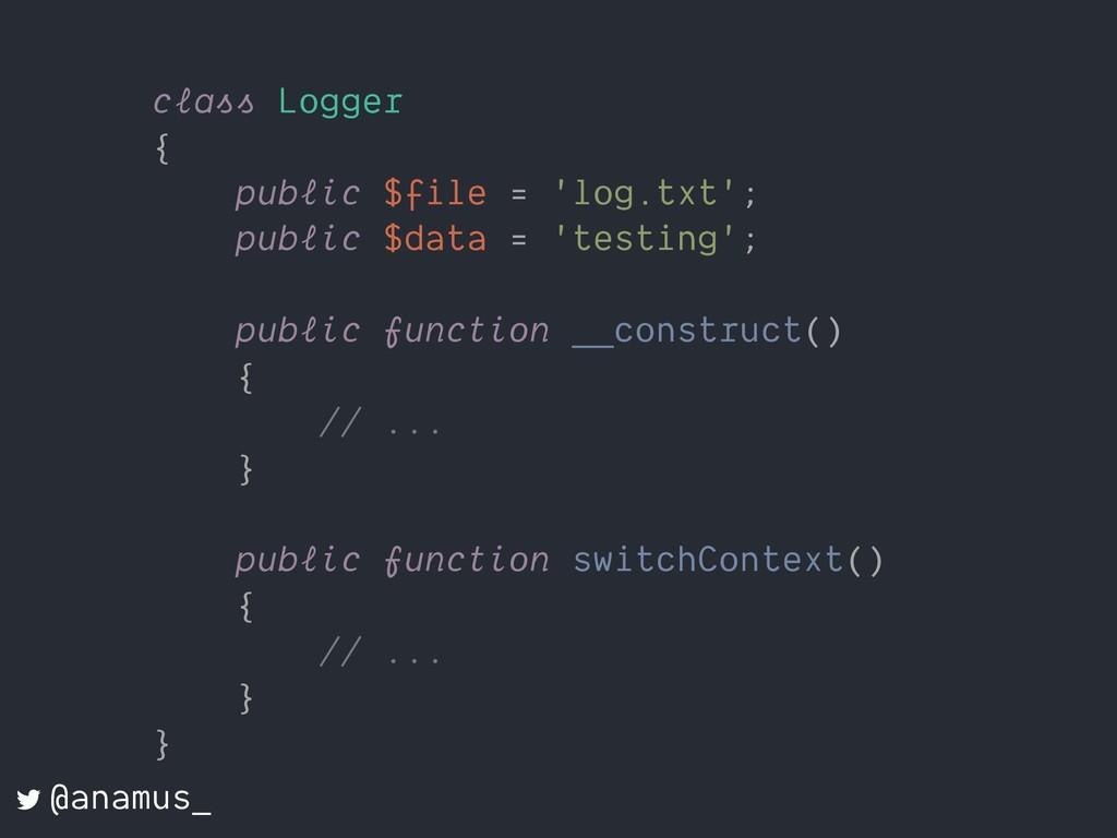 class Logger { public $file = 'log.txt'; public...