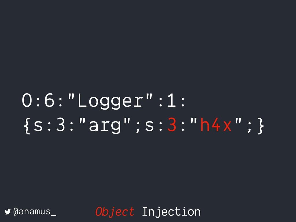"O:6:""Logger"":1: {s:3:""arg"";s:3:""h4x"";} @anamus_..."
