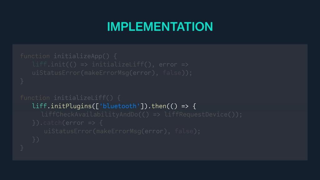 function initializeApp() { liff.init(() => init...