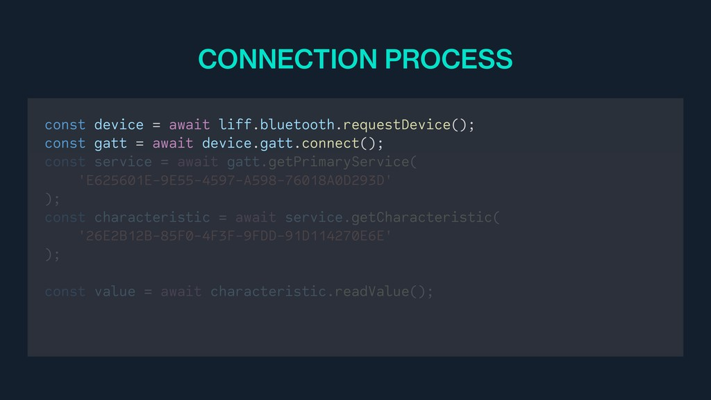 const device = await liff.bluetooth.requestDevi...