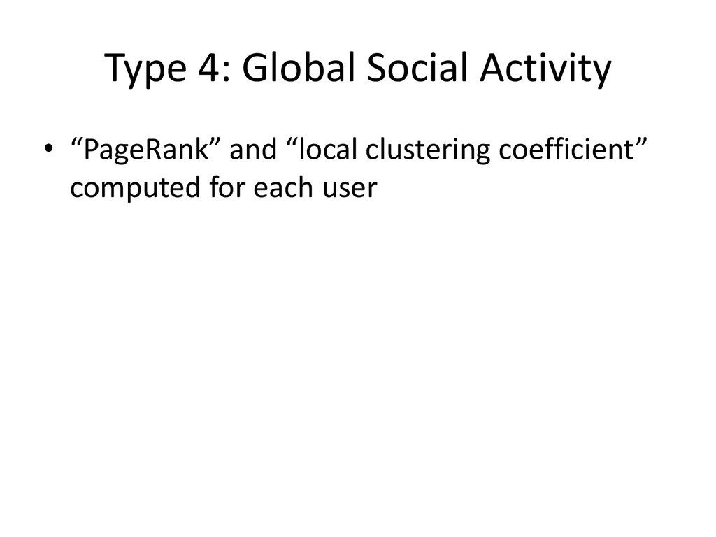 "Type 4: Global Social Activity • ""PageRank"" and..."