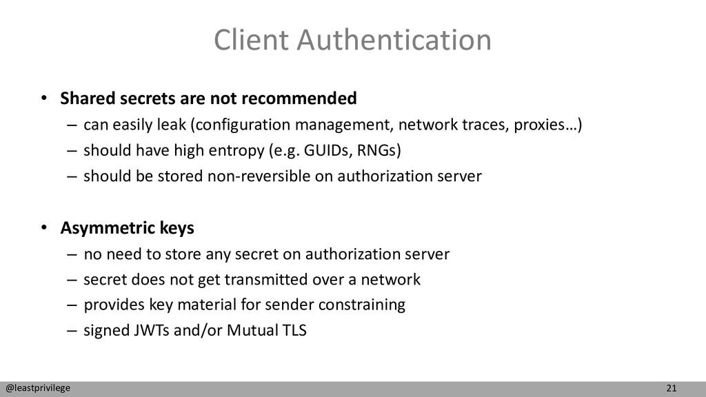 21 @leastprivilege Client Authentication • Shar...