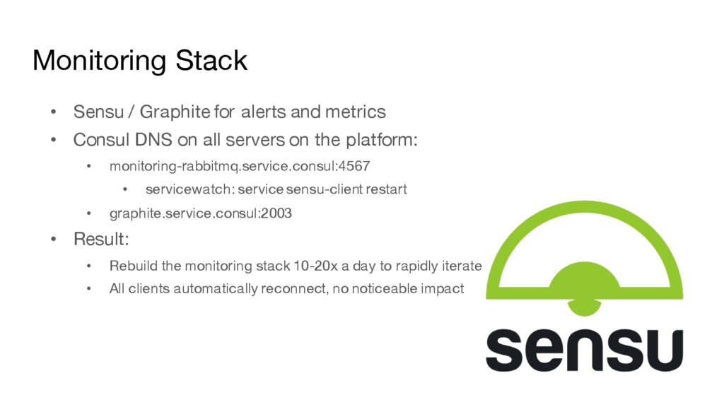 Monitoring Stack • Sensu / Graphite for alerts ...