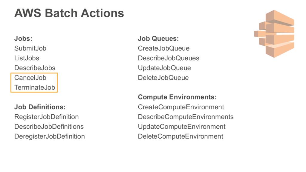 AWS Batch Actions Jobs: SubmitJob ListJobs Desc...