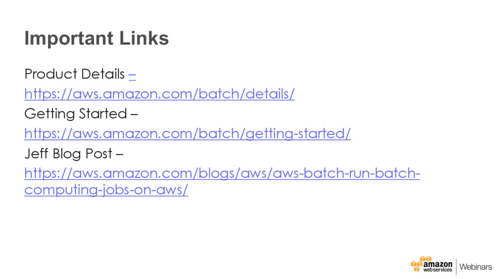 Important Links Product Details – https://aws.a...