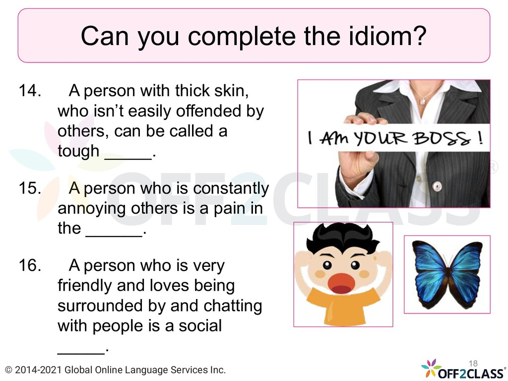 14. A person with thick skin, who isn't easily ...