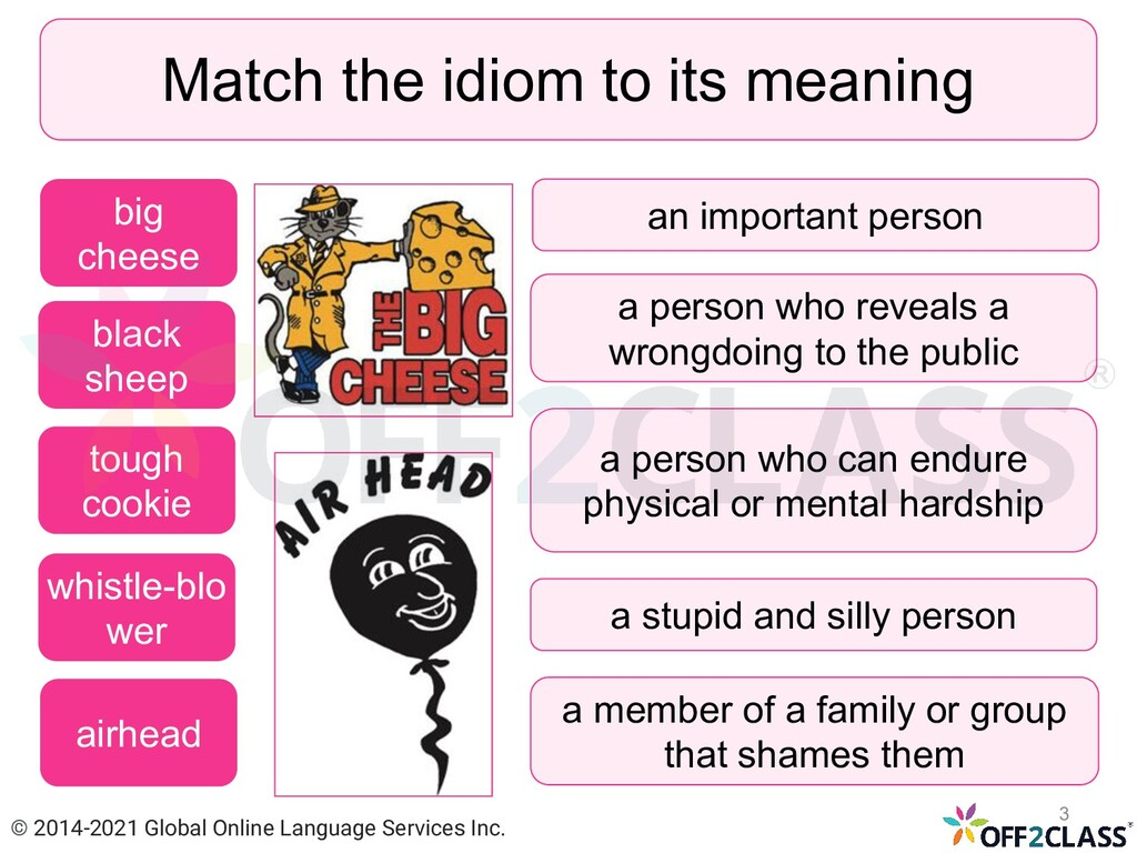 Match the idiom to its meaning black sheep toug...