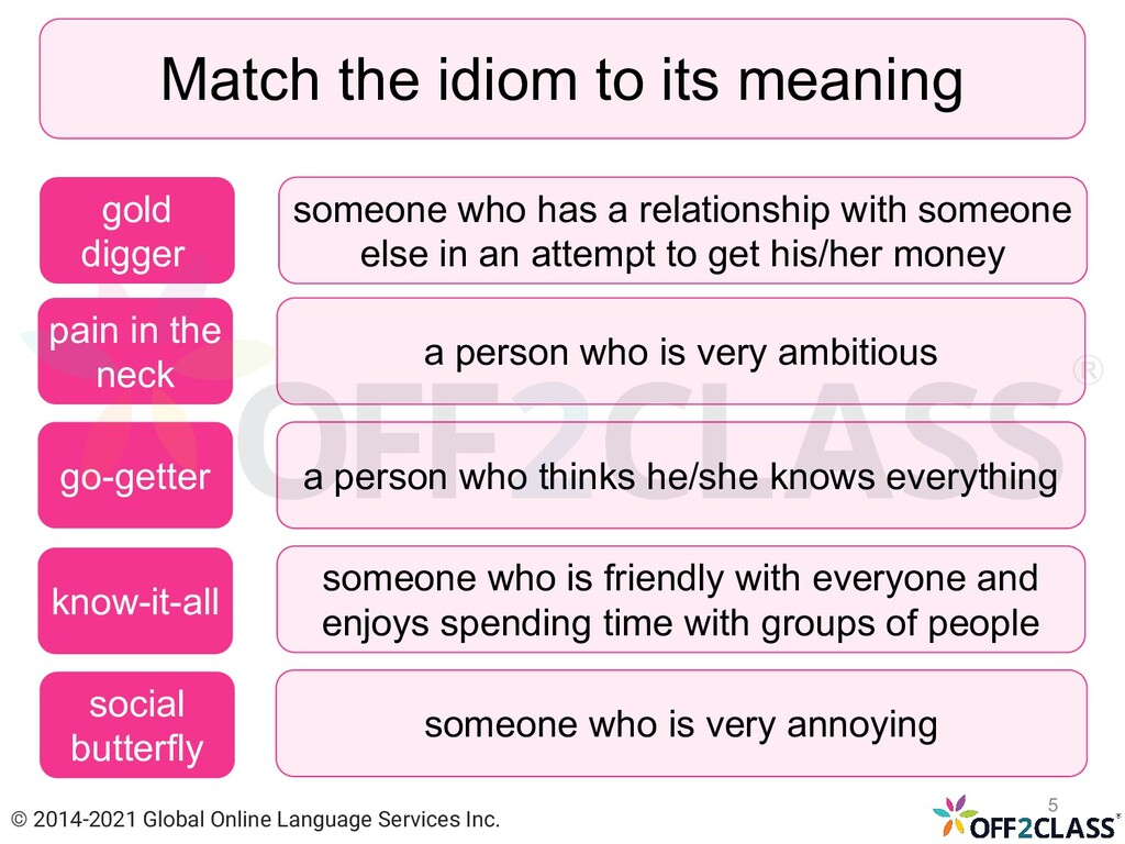 Match the idiom to its meaning pain in the neck...