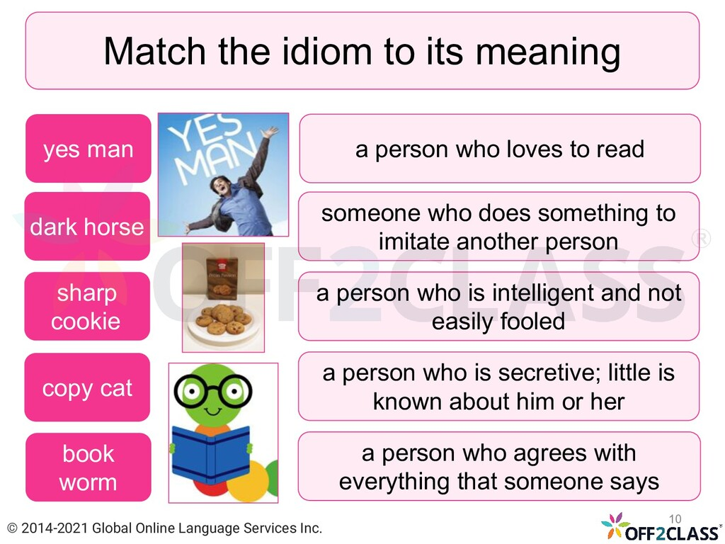 Match the idiom to its meaning dark horse sharp...