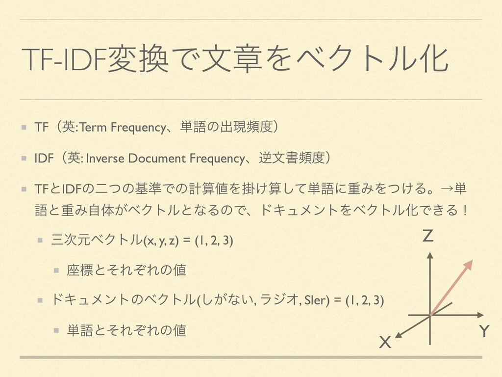 TF-IDFมͰจষΛϕΫτϧԽ TFʢӳ: Term Frequencyɺ୯ޠͷग़ݱසʣ...