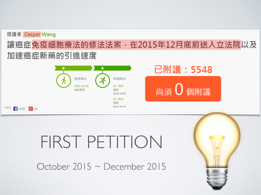 FIRST PETITION  October 2015 ~ December 2015