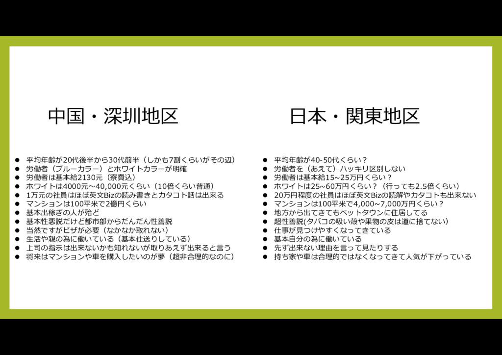 中国・深圳地区 日本・関東地区  平均年齢が20代後半から30代前半(しかも7割くらいがその...