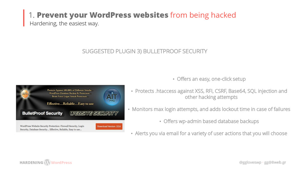 SUGGESTED PLUGIN 3) BULLETPROOF SECURITY • Offe...
