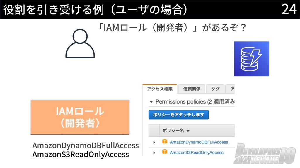 24 役割を引き受ける例(ユーザの場合) IAMロール (開発者) AmazonDynamoD...