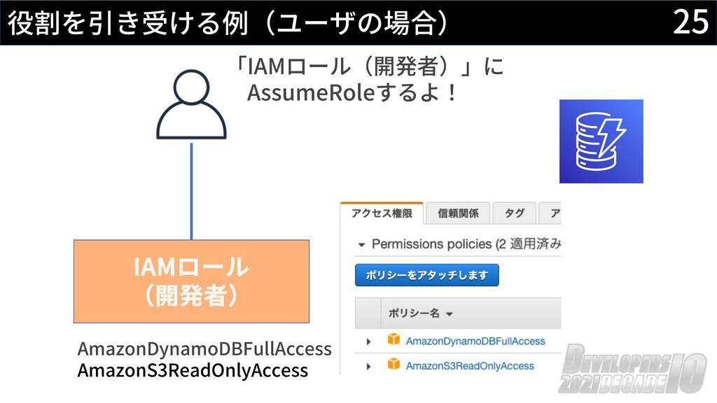 25 役割を引き受ける例(ユーザの場合) IAMロール (開発者) AmazonDynamoD...