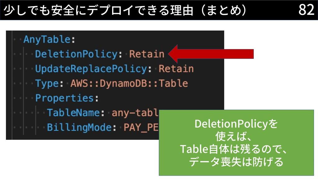 82 少しでも安全にデプロイできる理由(まとめ) DeletionPolicyを 使えば、 T...