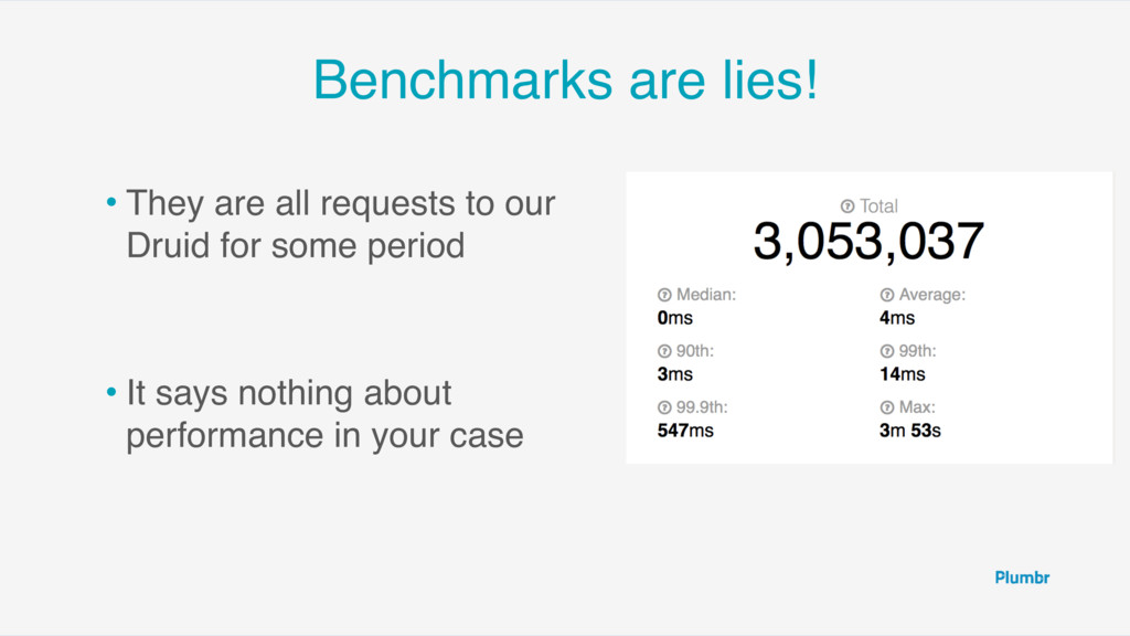 Benchmarks are lies! • They are all requests to...