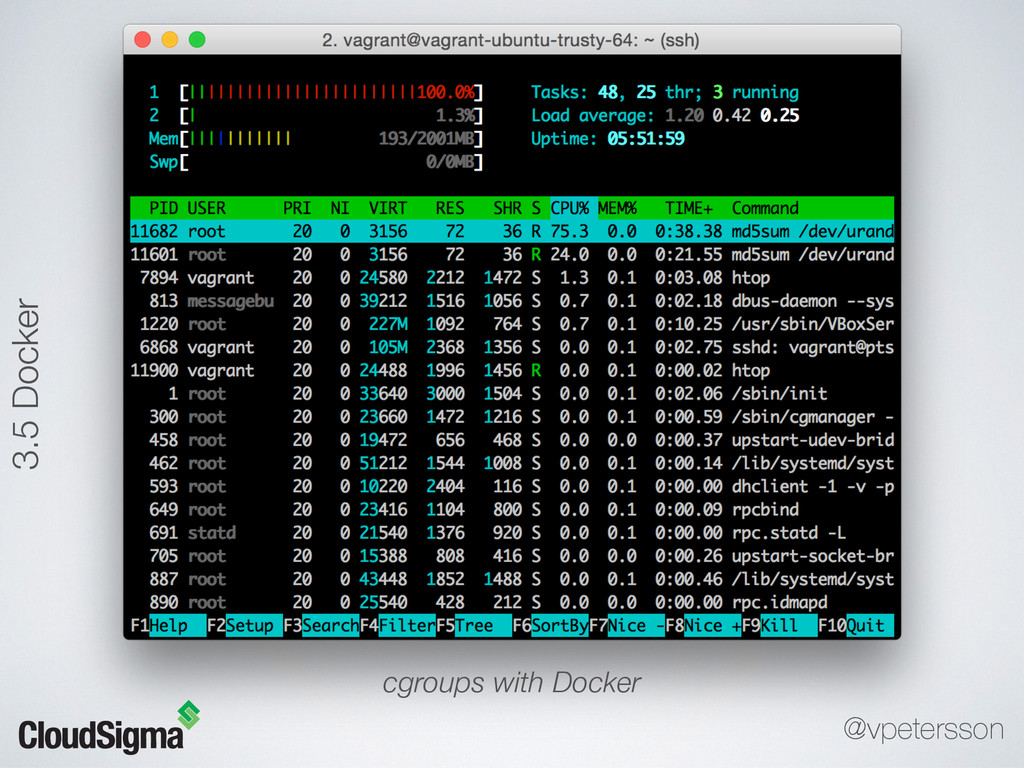 cgroups with Docker 3.5 Docker @vpetersson