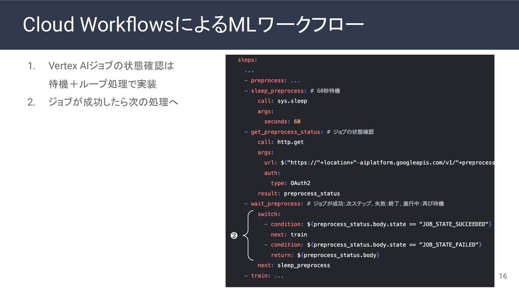 Cloud WorkflowsによるMLワークフロー 1. Vertex AIジョブの状態確認は...