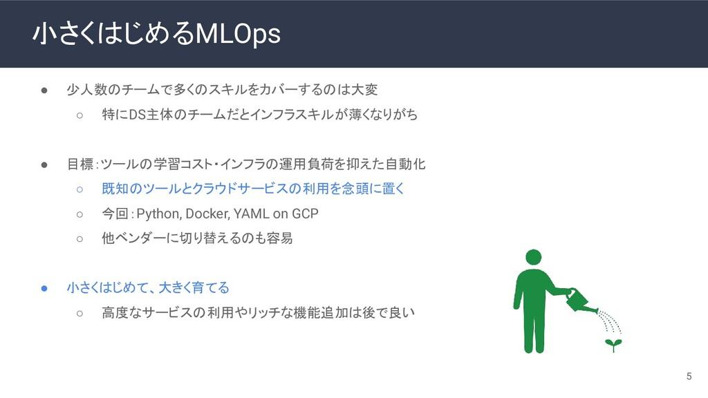 小さくはじめるMLOps 5 ● 少人数のチームで多くのスキルをカバーするのは大変 ○ 特にD...