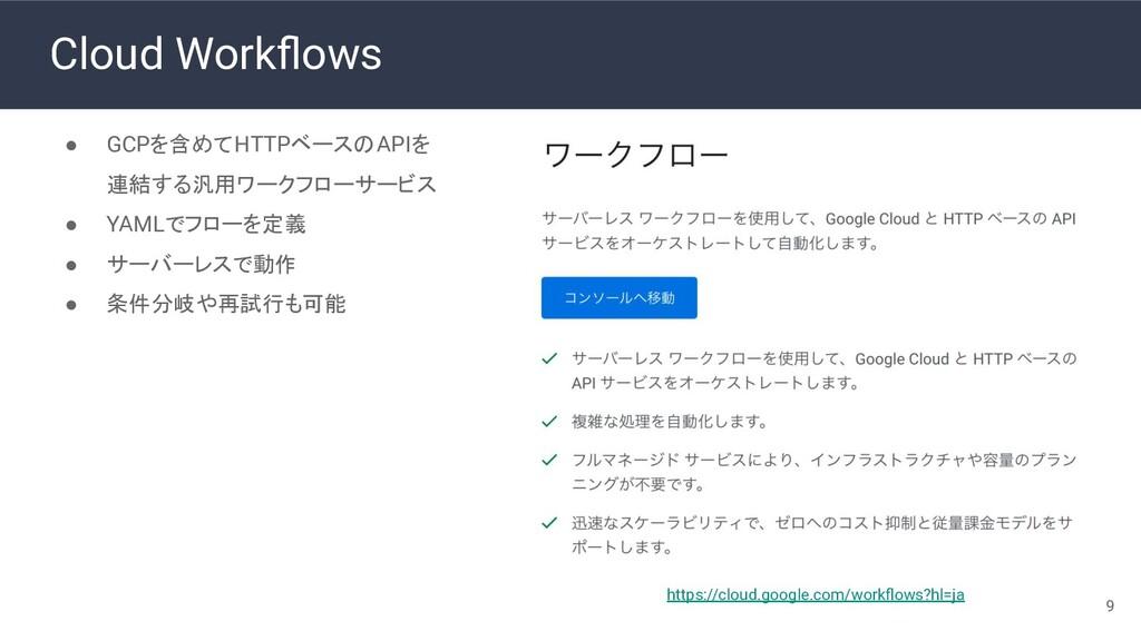 Cloud Workflows ● GCPを含めてHTTPベースのAPIを 連結する汎用ワークフ...