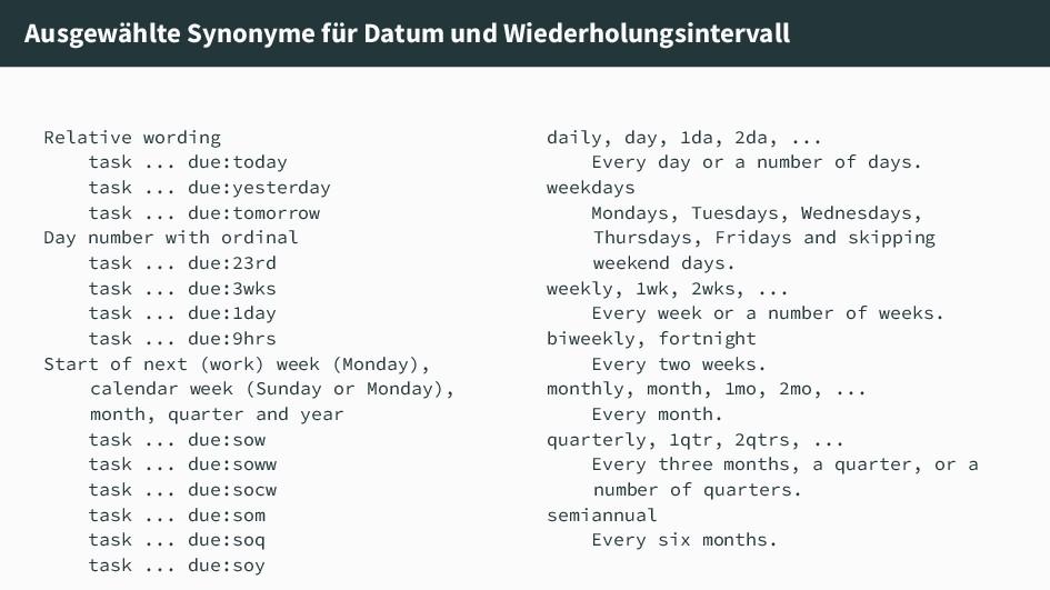 Ausgewählte Synonyme für Datum und Wiederholung...