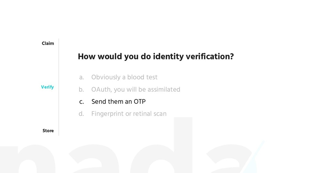 Claim Verify Store How would you do identity ve...