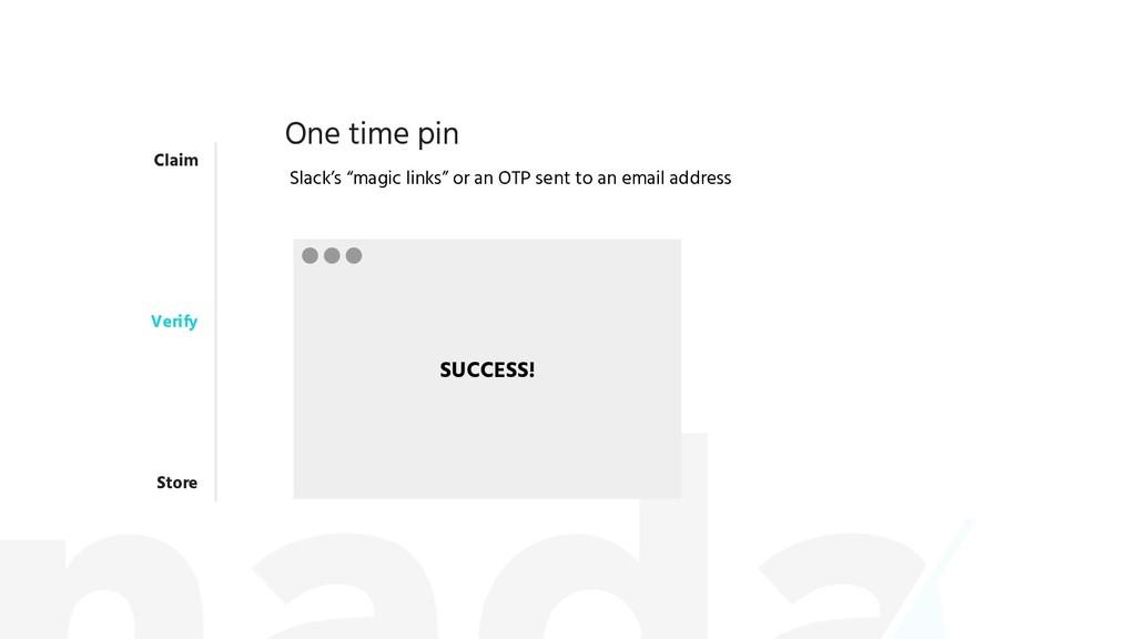 "Claim Verify Store One time pin Slack's ""magic ..."