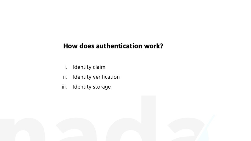 i. Identity claim ii. Identity verification iii...
