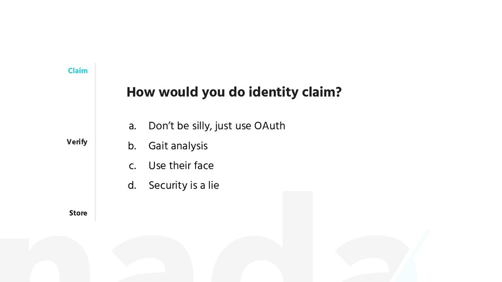 Claim Verify Store How would you do identity cl...