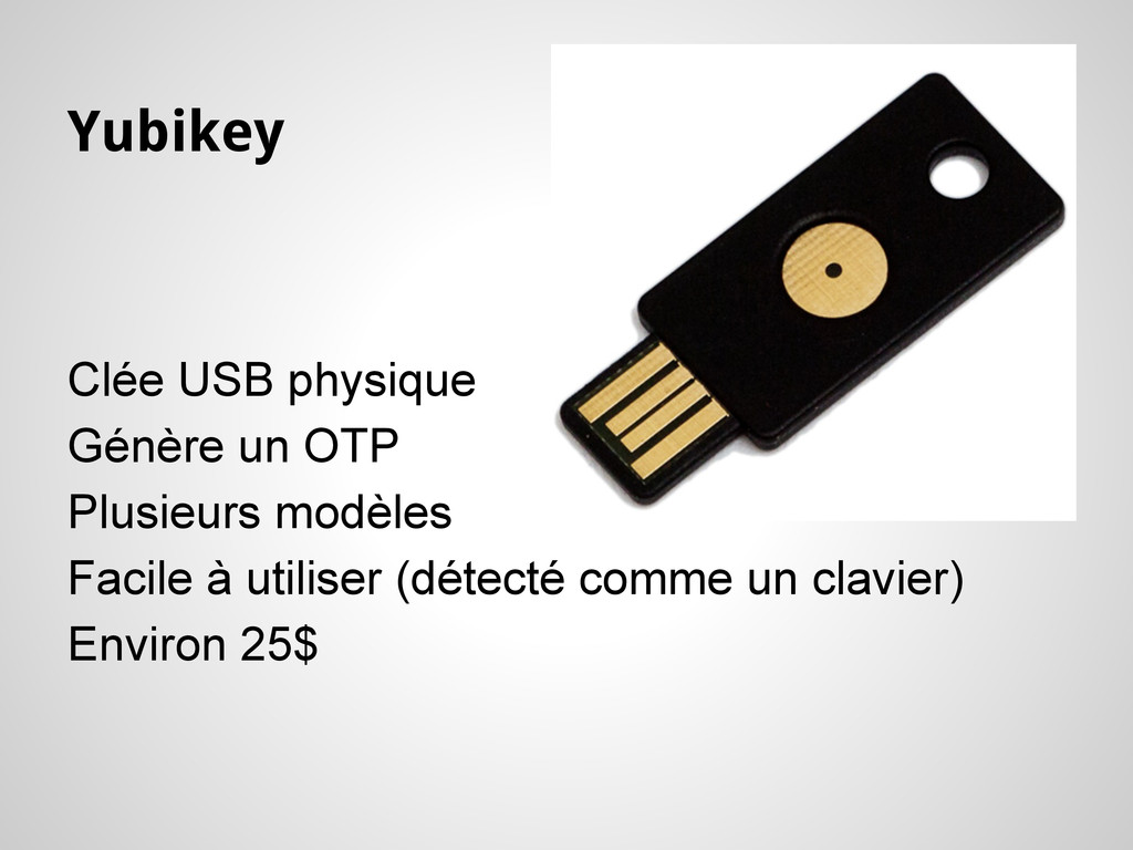 Yubikey Clée USB physique Génère un OTP Plusieu...