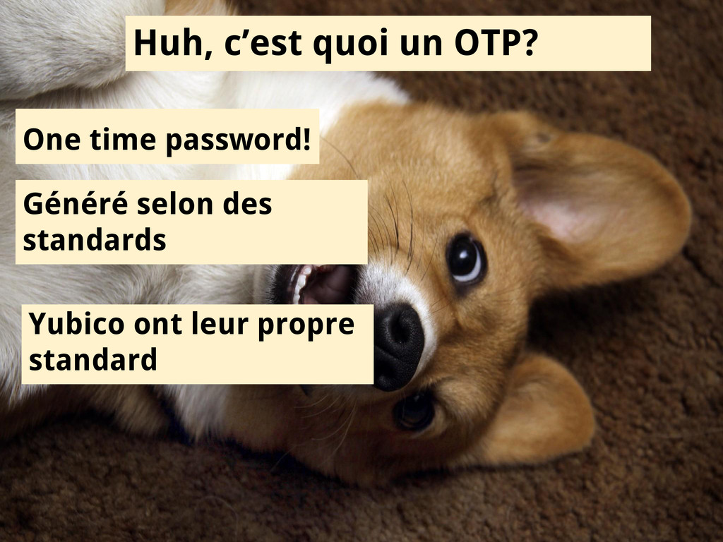 Huh, c'est quoi un OTP? One time password! Géné...