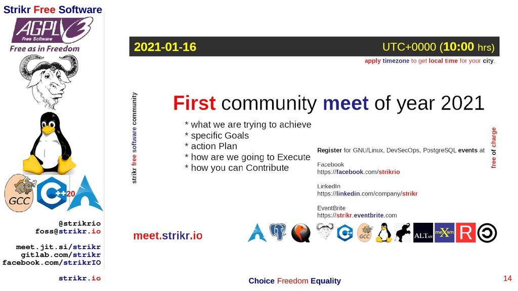 14 Strikr Free Software 20 @strikrio foss@strik...