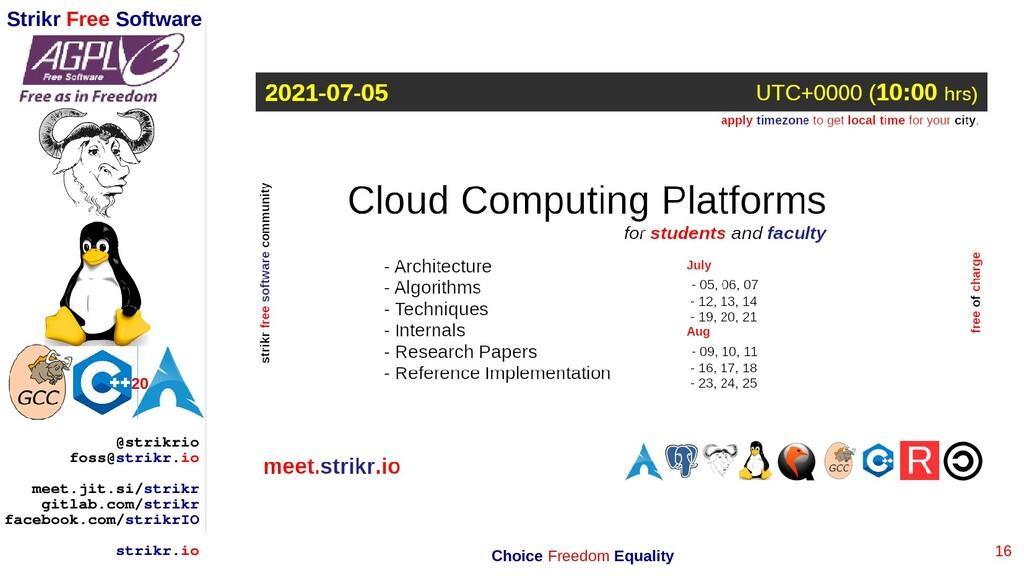 16 Strikr Free Software 20 @strikrio foss@strik...