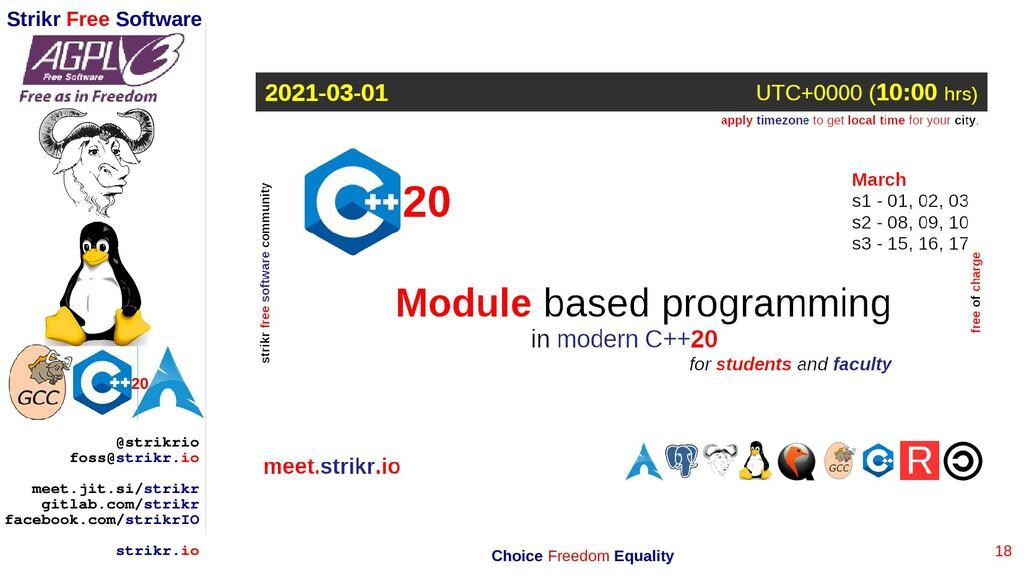 18 Strikr Free Software 20 @strikrio foss@strik...