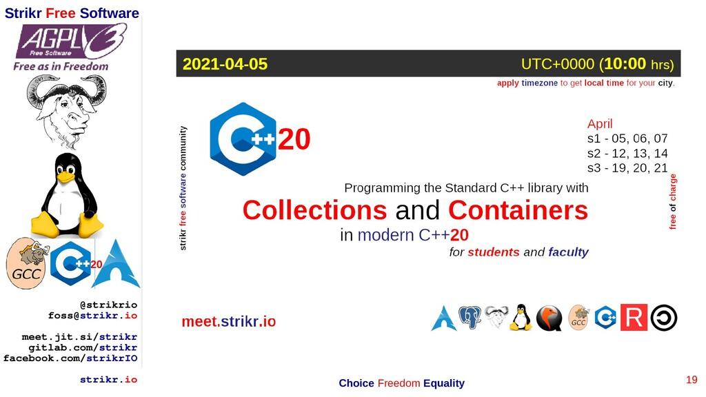 19 Strikr Free Software 20 @strikrio foss@strik...