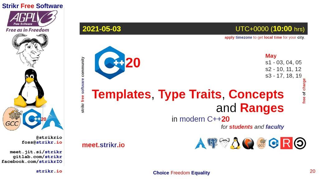 20 Strikr Free Software 20 @strikrio foss@strik...