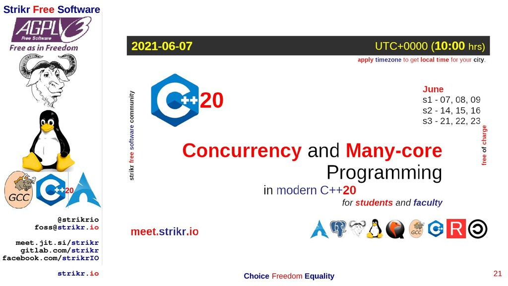 21 Strikr Free Software 20 @strikrio foss@strik...