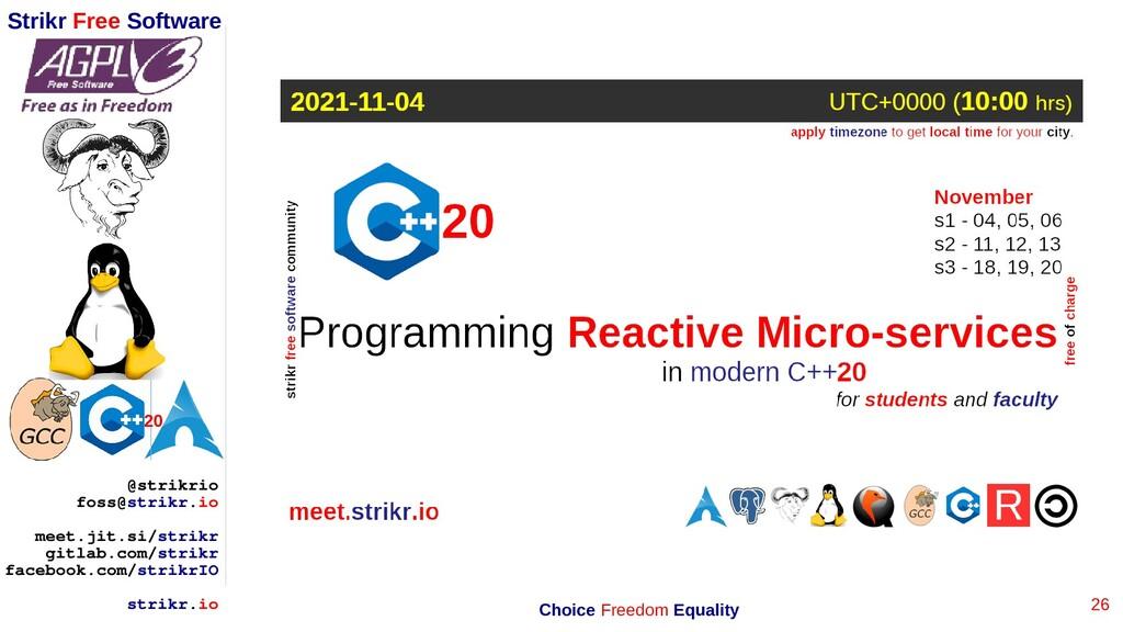 26 Strikr Free Software 20 @strikrio foss@strik...