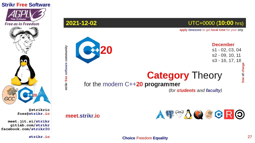 27 Strikr Free Software 20 @strikrio foss@strik...