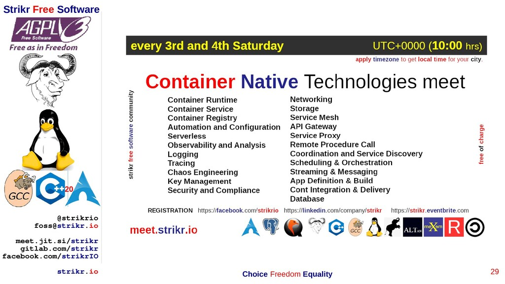 29 Strikr Free Software 20 @strikrio foss@strik...